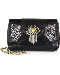 DANNIJO - Rocha Embellished & Feathered Dual-Texture Leather Clutch - Lyst