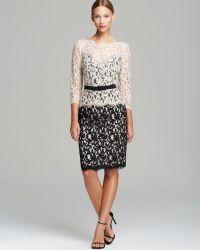 Tadashi Shoji Dress - Three Quarter Sleeve Illusion Neck Lace - Lyst