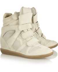 Isabel Marant Burt Leather and Suede Concealed Wedge Sneakers - Lyst
