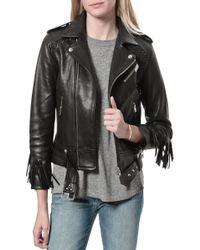 IRO Zerignola Fringe Leather Jacket - Lyst