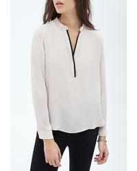 Forever 21 Contrast-Piped Henley Top - Lyst