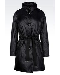 Emporio Armani Light Nylon Down Jacket With Belted Waist - Lyst