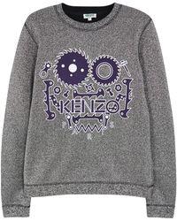 KENZO - Monster Silver Glittered Cotton Blend Sweatshirt - Lyst