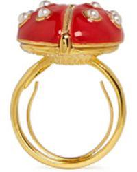 Kenneth Jay Lane Faux Pearl Enamel Ladybird Ring - Lyst