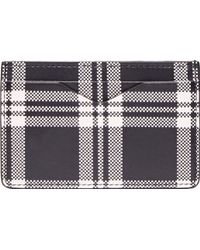 Alexander McQueen Black and White Plaid Leather Card Holder - Lyst
