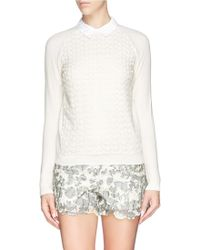 Tory Burch 'Carmine' Crochet Knit Sweater - Lyst