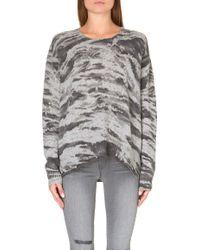 Enza Costa Printed Cashmere Jumper Grey Costae - Lyst
