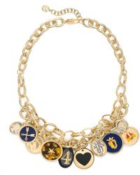 Tory Burch Dellora Charm Short Necklace - Lyst