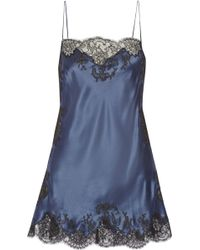 Carine Gilson Lace-trimmed Silk-satin Chemise - Lyst