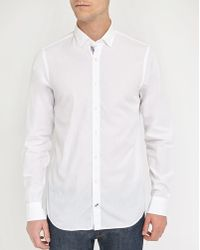 Tommy Hilfiger | White Poplin Shirt With Striped Button-placket | Lyst