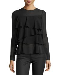 Rachel Zoe Ruffle Jewel-neck Top - Lyst