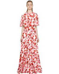 Giambattista Valli Printed Silk Georgette Cape Dress - Lyst