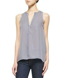 Joie Aruna C Shimmery-trim Silk Blouse - Lyst