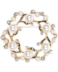 River Island Gold Tone Diamante and Pearl Encrusted Brooch - Lyst
