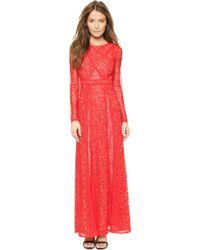 BCBGMAXAZRIA Kalie Lace Maxi Dress - Poppy - Lyst