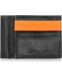 Santoni - Black Leather Credit Card Holder - Lyst