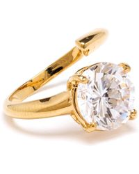 Bijules Gold Phalange Cocktail Ring with Clear Crystal - Lyst