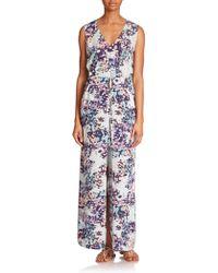 BCBGMAXAZRIA Taren Printed Cutout Maxi Dress blue - Lyst