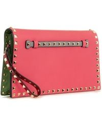 Valentino The Rockstud Leather Clutch - Lyst
