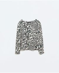 Zara Double Layer Print Top - Lyst
