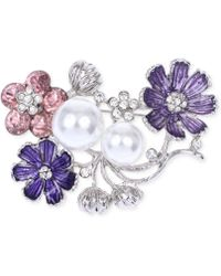 Jones New York - Silver-tone Faux Pearl And Crystal Flower Pin - Lyst