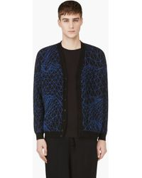 Christopher Kane Black and Blue Printed Knit Cardigan - Lyst