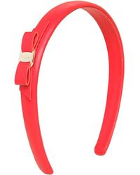 Ferragamo Red Leather Headband - Lyst