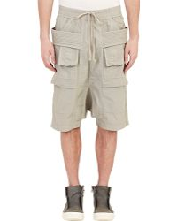 DRKSHDW by Rick Owens Waxed Drop-Rise Cargo Shorts - Lyst