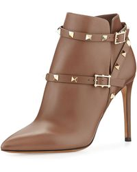 Valentino Strappy Rockstud Ankle Boot - Lyst