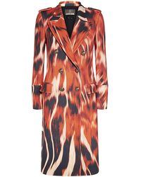 Roberto Cavalli Flame Print Coat - Lyst