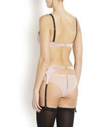Fleur du Mal - Blush Silk Satin Suspender Belt - Lyst