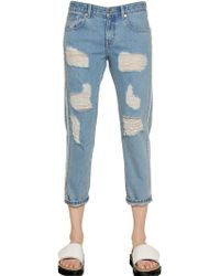 Steve J & Yoni P Boxy Destroyed Cotton Denim Jeans - Lyst