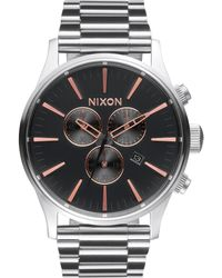 Nixon Sentry Ip Stainless Steel Chronograph Bracelet Watch silver - Lyst