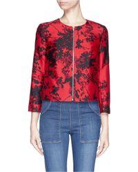 Diane von Furstenberg 'Gabrielle' Floral Print Wool-Silk Jacket red - Lyst