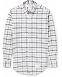Thom Browne Plaid Cotton Oxford Shirt - Lyst