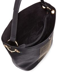 Neiman marcus Sophia Studded Faux-leather Hobo Bag in Black | Lyst