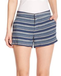 Joie Merci Striped Linen Shorts blue - Lyst