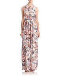 Shoshanna Printed Silk Maxi Dress - Lyst