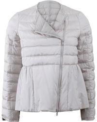 Brunello Cucinelli Silk Puffer Peplum Jacket gray - Lyst