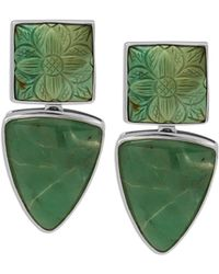 Stephen Dweck - Carved Turquoise & Chrysoprase Clip-on Earrings - Lyst