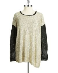 DKNY Plus Colorblocked Sequin Pullover - Lyst