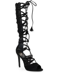 Schutz Zoneide Lace-Up Strappy Suede Boots - Lyst