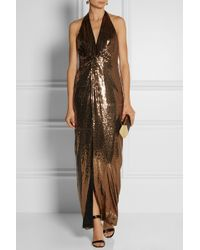 Halston Heritage Sequined Jersey Gown - Lyst