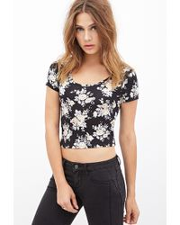 Forever 21 Rose Print Crop Top - Lyst