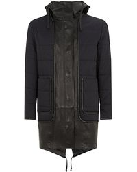 Alexander Wang Leather Trim Quilted Parka - Lyst