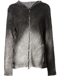 Avant Toi - Printed Distressed Zipped Hoodie - Lyst