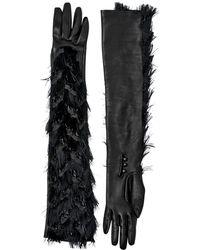 Lanvin Silk Organza Nappa Leather Long Gloves - Lyst