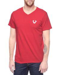 True Religion Hand Picked Flock Logo Vneck Mens T-Shirt - Lyst