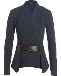 Donna Karan New York Linen Jersey Blazer With Leather Belt - Lyst