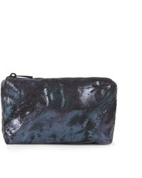 Topshop Womens Metallic Foil Make Up Bag - Navy Blue - Lyst